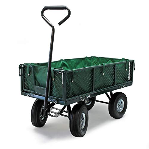 Chariot de jardin à main 300kg avec bâche amovible et grilles...