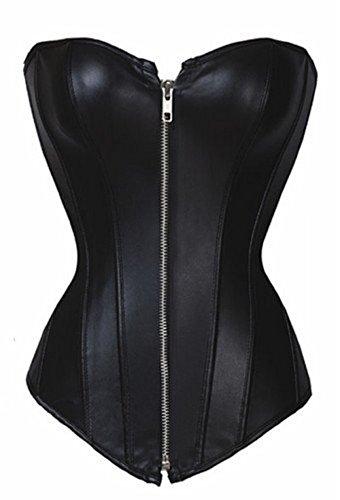 Bslingerie Corpiño de piel sintética con cremallera delantera, para mujer - negro - Medium