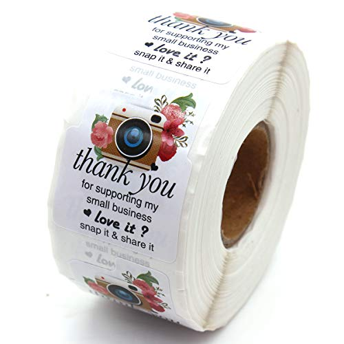 Muminglong 1.5 Inch Camera Retro Flower Thank You for Supporting My Small Business Stickers, Small Shop Stickers, Small Business, Thank You Sticker,Packaging Sticker, 500 PCS