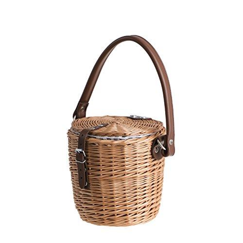 e-wicker24 Bolso de mimbre con correa de piel, bolso de mimbre para mujer, bolso de mimbre, bolso de playa