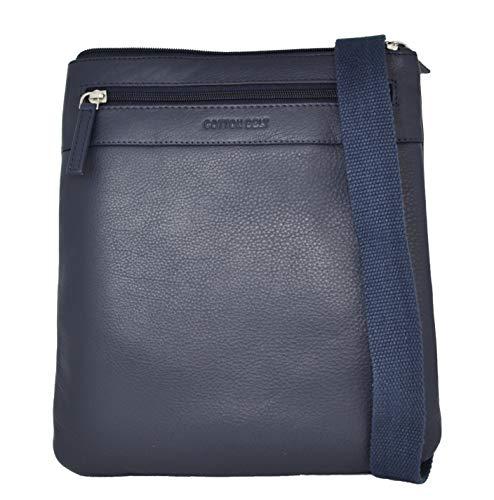 Cotton Belt Borsello da Uomo Blu a tracolla, Multi tasca in Vera Pelle, Grande