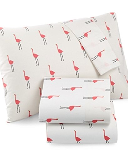 Martha Stewart Whim Collection Novelty Print 4 Piece 200 Thread Count Queen Sheet Set, Only At Macy's Bedding Pink Flamingo