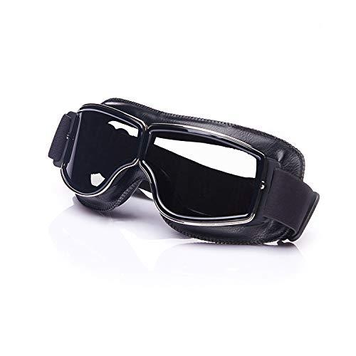 Galatée Motorradbrille Ski Motorrad Roller Brille Retro Fliegerbrille Helmbrille Winddichte Sonnenbrille (Schwarze Rahmen-Transparente Linse)