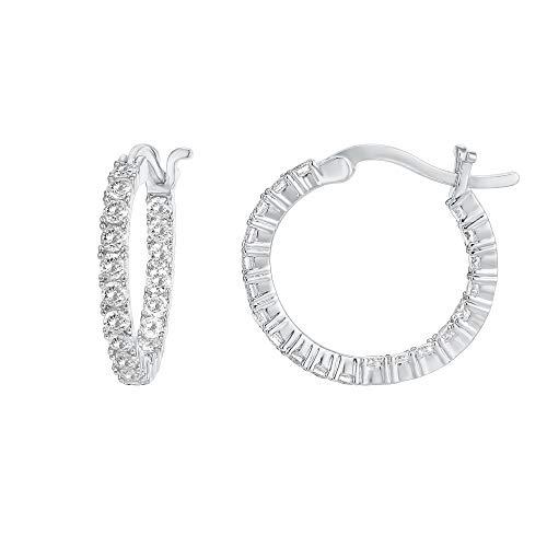 PAVOI 14K chapado en oro 925 pendientes de plata de ley Pon Cubic Zirconia aro | Aros de oro blanco