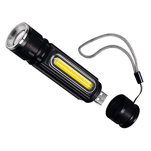 Mallalah Linterna LED Lámpara de mano USB T6 800 Lumen Inchbar Focus...