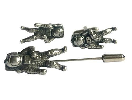 Gemelos de astronauta y pin de solapa (pin de cuervo), juego de regalo, hecho a mano en Inglaterra. En caja de regalo.