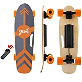 Tooluck 27.5' Electric Skateboard, 20KM/H Top Speed, 350W Singal Motor, 8KM Range, Maximum Load 80kg, 7 Layers Maple Longboard with Wireless Remote Control for Adult Youth (Orange)