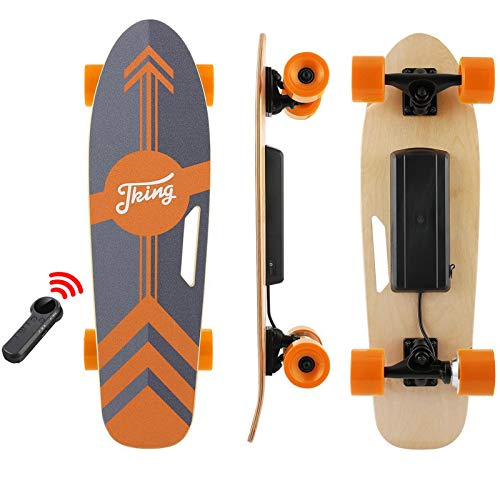 Tooluck 27.5' Electric Longboard Electric Skateboard 20KM/H 350W Singal Motor 7 Layers Maple Longboard with Wireless Remote Control for Adult Youth (Orange)