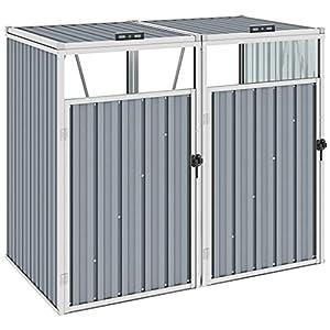 vidaXL Metal Wheelie Bin Storage for 2 Bins