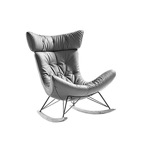 ZzheHou Schaukelstuhl Lazy Rocking Chair Erwachsener Nordic Recliner Haushalt Leder Kunst Schaukelstuhl Erwachsene Balkon Freizeit Sofa Stuhl (Farbe : Grau, Size : 102x75x88cm)
