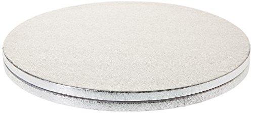 Decora Cakeboard Tondo in Cartone Pressato Rigido di Pura Cellulosa, Diametro 30 cm, Argento, Set di 2