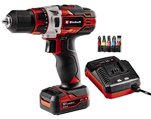 Einhell Cordless Drill TE-CD 12/1 Li 1 x 2.0 Ah (30 Nm, 2-Speed Gearing, Electronic Speed Control, LED Light, Robust Metal Gearing, Ergonomic Design + Softgrip, Incl. 45-min. Charger + 2.0 Ah Battery)