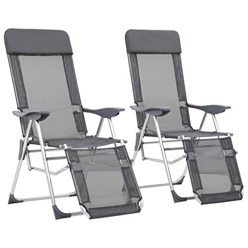 vidaXL 2X Chaise de Camping Pliable Repose-Pied Gris Aluminium Jardin Fauteuil