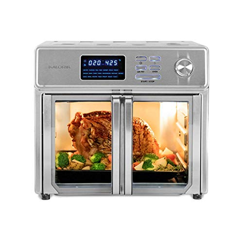 Kalorik 26 QT Digital Maxx Air Fryer Oven, Roaster, Broiler, Rotisserie, Dehydrator, Oven, Toaster, Pizza Oven and Slow Cooker. 9 Accessories with Cookbook. Sears up to 500⁰F. Extra Large Capacity, All in One Appliance. Stainless Steel.