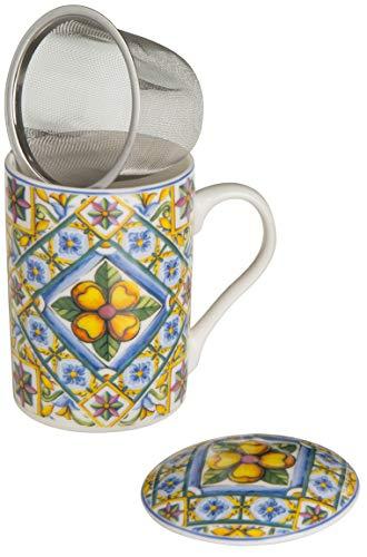Baroni Home Tazza da tè in Ceramica con Filtro in Acciaio Inox. Tisaniera con Tappo decori maioliche 12x8x12 cm Modica
