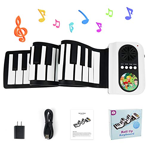 Vangoa Roll Up Piano 49 Keys, Portable Electric Piano Keyboard with Built-in Loud Speaker, Best Gift for Kids and Teens