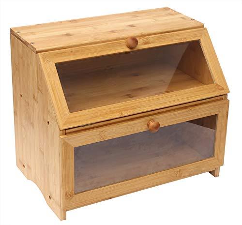 Bamboo Bread Box,2 Layer Large Capacity Wood Bread Bin for Kitchen, Bread...