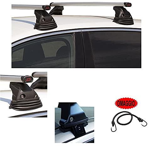 Compatible con Honda Civic 5p (04-06) (68010) Barras DE Techo DE Aluminio para Techo DE Coche 110CM Barra DE Coche ESPECÍFICA + Kit DE Montaje Aprobado