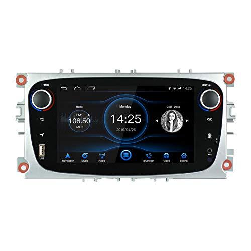 Car Android Radio 8.1 Apto para Ford Focus Mondeo Galaxy S-MAX 2GB RAM 32G ROM Octa Core Indash 7 Pantalla Control táctil Capacitivo GPS Bluetooth Unidad Principal con Control del Volante WiFi