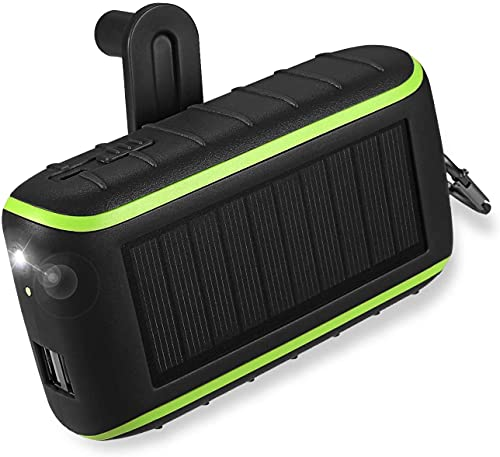Banco de la energía solar 10000mah, cargador de manivela del teléfono con la luz del LED