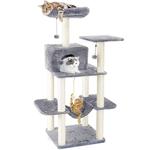 PAWZ Road 60 Inches Cat Tree Multilevel Cat Towers with Luxury Condos,Fully Wrapped Sisal Scratching Post,Plush Hammock and Dangling Balls