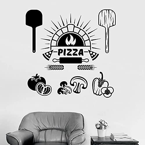 Hesuz Adhesivos de Pared Negro 57x58 cm Ingredientes alimentarios Vinilos Decorativos Pizza Restaurante Italiano Cocina Decoración Interior Cocina Nevera Ventana Vinilos Adhesivos Mural artístico