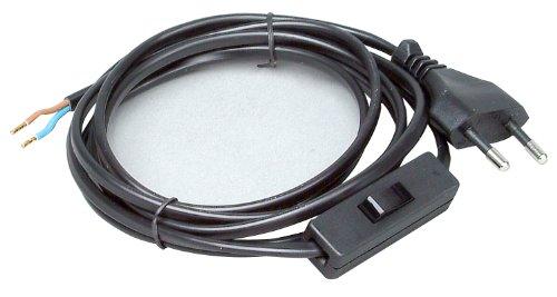 Kopp 140305098 Euro-Zuleitung 2 m, mit Zwischenschalter, schwarz