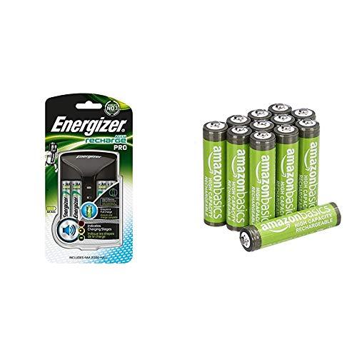 Energizer Chargeur Piles Rechargeables, pour AA et AAA Piles (4 Piles AA Incluses) & Amazon Basics Piles Rechargeables AAA Haute capacité 850mAh (Lot de 12) - Pré-chargées