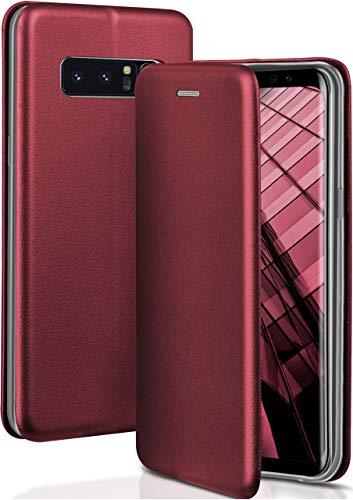 ONEFLOW Handyhülle kompatibel mit Samsung Galaxy Note8 - Hülle klappbar, Handytasche mit Kartenfach, Flip Hülle Call Funktion, Klapphülle in Leder Optik, Weinrot