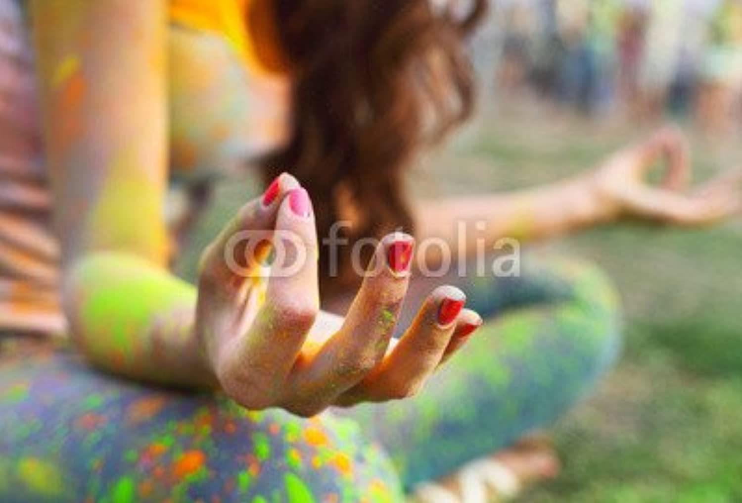 Canvas image 60 x 40 cm   Woman training yoga and meditation at poolside , image on a Canvas