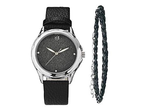 AURIOL® - Set di orologio da polso da donna (originale ed eccellente qualità top) con bracciale armonico, come regalo di Natale per lei e Con strass., colore: Nero , cod. 4038561043866