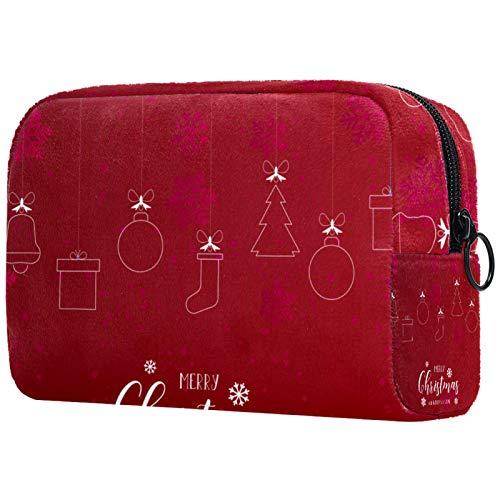 KAMEARI Bolsa cosmética roja de adorno de Navidad Patrón de Mesa_Mesa De Trabajo 1 bolsa cosmética grande organizador multifuncional bolsas de viaje