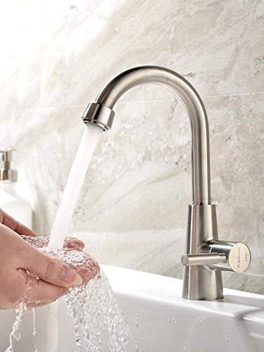 L-YINGZON accesorios de baño, Baño del buque fregadero grifo mezclador del lavabo grifos de lavabo grifo de agua de acero inoxidable 304 Fría sola palanca 1 agujero del fregadero grifo, de plata, una
