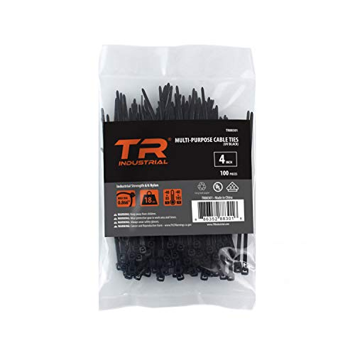 TR Industrial Multi-Purpose UV Resistant Black Cable Ties, 4 inches, 100 Pack