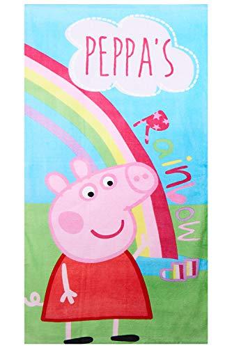 Peppa Wutz 70x140cm Handtuch aus 100% Baumwolle Peppa`s Rainbow, Strandtuch für Kinder, Mädchen und Jungen, Öko Tex Standard 100