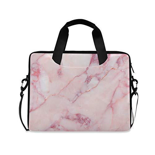 Laptop Bag, Pink Marble Pattern Computer Sleeve Case Laptop Handbags Briefcase with Strap and Handle for Boys Girls Women Men 14 15 15.6 Inch