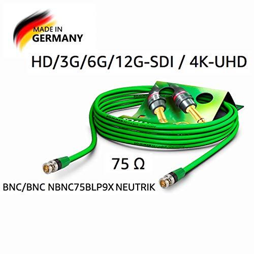 Sommer Cable Video-Patchkabel 6G-SDI/4K SC-Vector 0.8/3.7, BNC/BNC NBNC75BLP9X NEUTRIK Grün (10m)