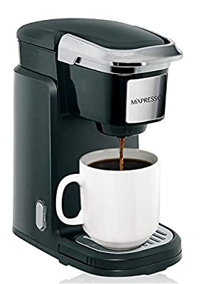 Mixpresso Single Cup Coffee Maker | Personal, Single Serve Coffee Brewer Machine, Compatible with Single-Cups | Quick Brew Technology, Programmable Features, One Touch Function (Black)