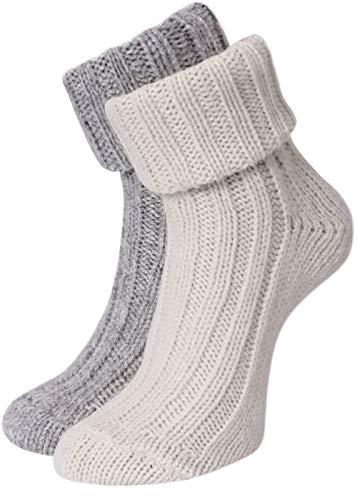 KB Socken Alpakasocken Wintersocken Wollsocken Alpakawolle Schafwolle mit Umschlag Damen 2 Paar (weiß/grau, 39/42)