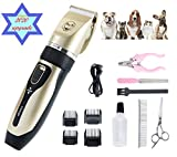 XIAOHE Dog Clippers Low Noise Pet Clippers with Long Life Battery Use for Small Middle Large Dogs and Cats Pets USB Rechargeable Pet Professional Grooming Machine Tool with 4 Comb Attachments