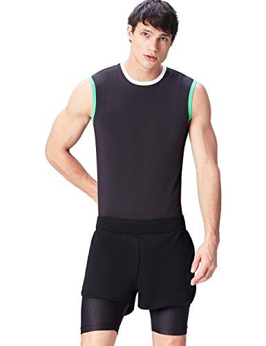 Activewear, Pantalón de Deporte con Mallas Incorporadas Para Hombre, Negro (Black), Small