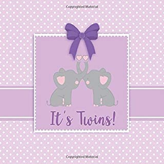It's Twins!: Lavender Elephant Twins Baby Shower Guest Book with Gift Log - Girl Twins Elephant Sign in Book Pastel Purple Baby Shower Decorations for ... for Name and Address (112 Pages  8.25 x 8.25)