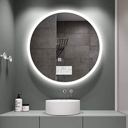 QTWW Espejo de baño Redondo con iluminación LED, Superficie de Espejo a Prueba de explosiones de Alta definición, Interruptor táctil de luz Blanca/cálida + Pantalla de Tiempo/Temperatura + pa