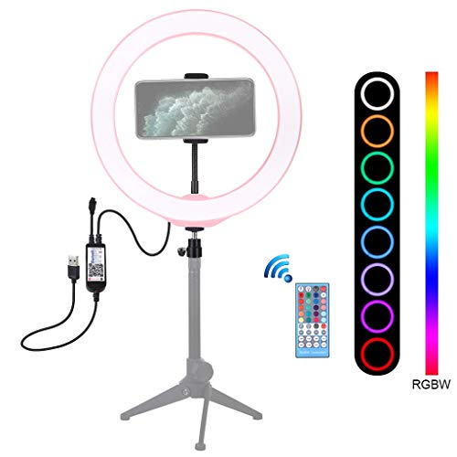 "Fewear 10.2"" Selfie Ring Light with Tripod Stand & Cell Phone Holder for Live Stream/Makeup, Led Phone Ringlight for YouTube Video for TikTok, Photography (Pink)"