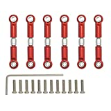 6pcs Metal Steering Linkage Servo Link Adjustable Pull Rod Turnbuckle A959-03 Fit RC 1/18 WLtoys A959 A969 A979 K929 (Red)