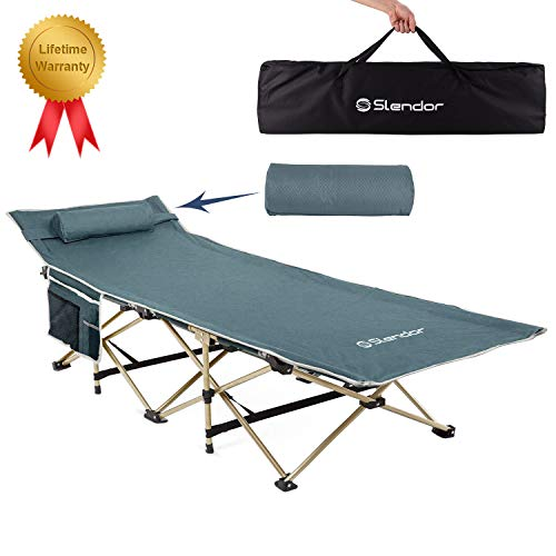 Slendor Folding Camping Cots for Adults, Heavy-Duty Portable Collapsible Sleeping Cots with Pillow and Carry Bag, Large Pocket, 1200D Double Layer Oxford, Support 500 LBS