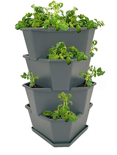 Paul Potato Starter Kartoffelturm - stapelbar - Hochbeet/Pflanzgefäß/Blumentopf für Balkon, Garten und Terrasse (4 Etagen, anthrazit/grau) inkl. Untersetzer