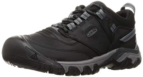 KEEN Men's Ridge Flex Low Height Waterproof Hiking Shoe, Black/Magnet, 10
