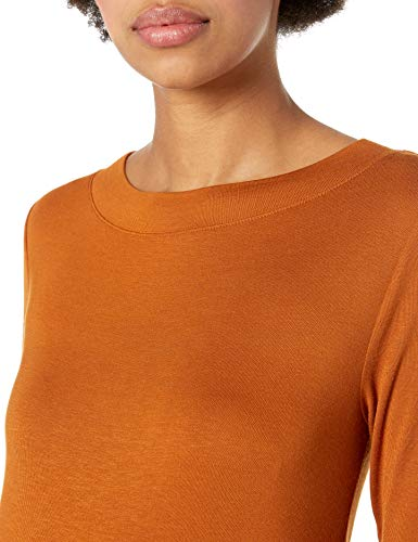 Daily Ritual Women's Rib Knit Jersey Elbow-Sleeve Boat Neck Shirt, XS, Black