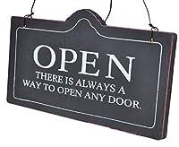 おしゃれ アンティーク 風 オープン & クローズ (OPEN & CLOSED) 木製 両面 ボード プレート お店 お部屋 カフェ の インテリア 看板 装飾 に (ブラック 黒)